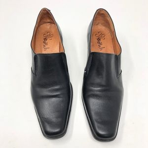 Sarah Shoes - SaRah | Genuine Soft Leather Heel Black Slip On